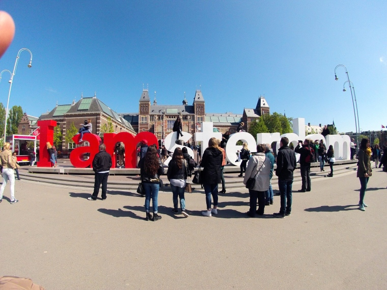 The iconic IAMSTERDAM sign. Surrounded by tourists as always.