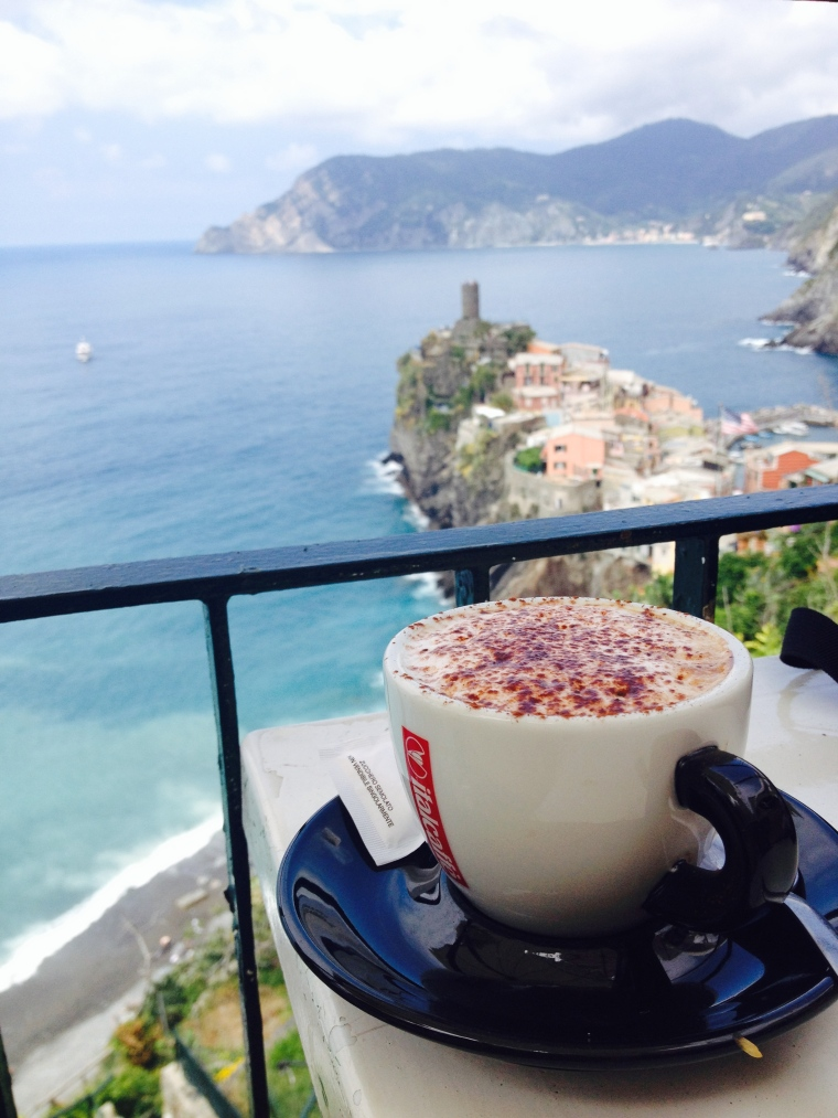 Coffee overlooking the small village of Vernazza