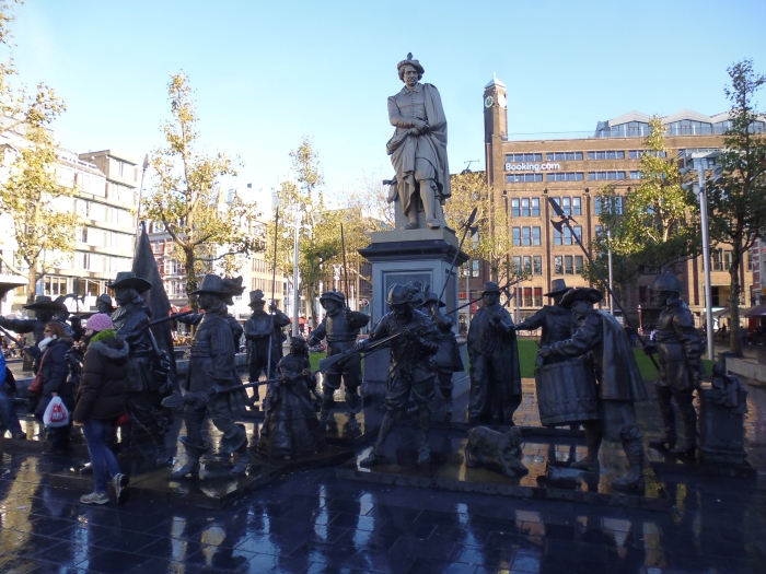 Rembrandtplein and the 3D bronze statues of Rembrandt's most famous painting 'The Night Watch'