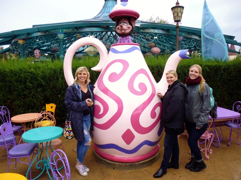 Judy, Sam and I with Mad Hatter's Tea Party.