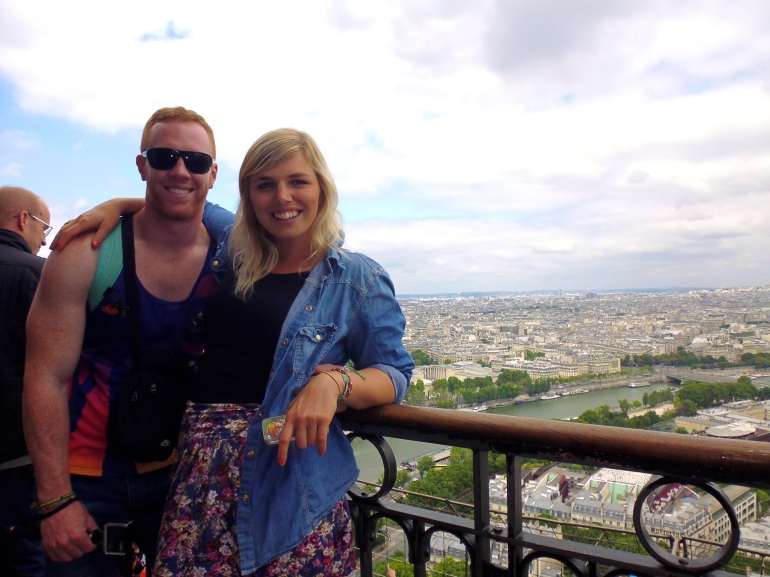 B and I on top of the Eiffel Tower.