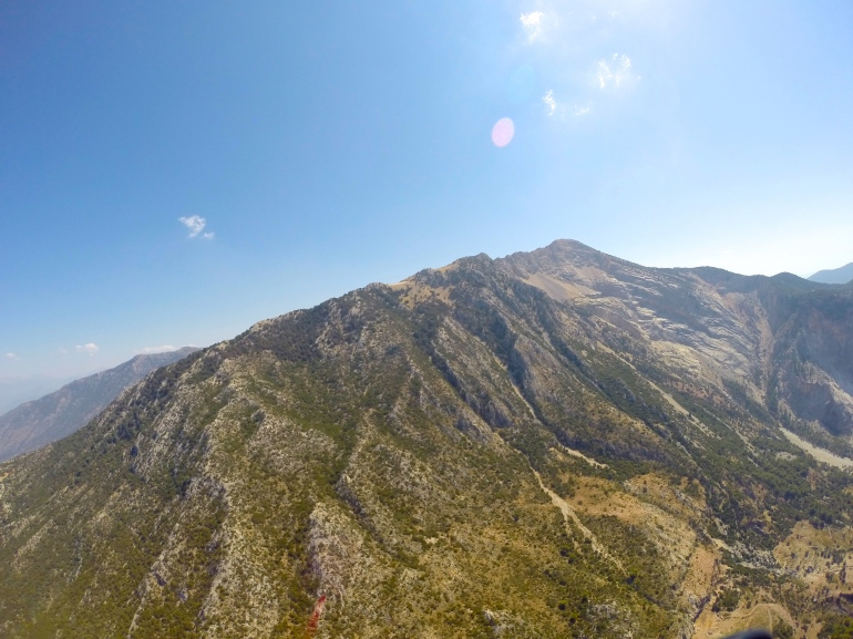 Part of Mount Babadag, the best point for paragliding in Europe