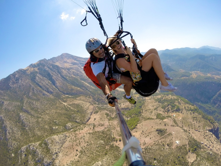 Flying high above the mountains -
