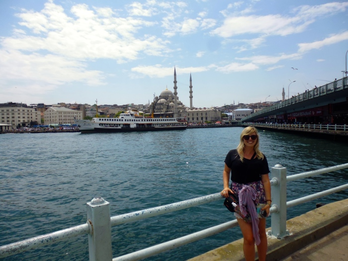 Halfway over the Galata Bridge