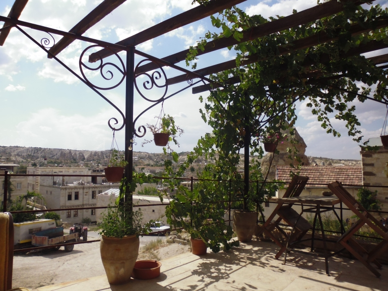 Our balcony overlooking the town of Göreme.