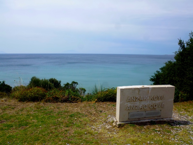 The blue waters of Anzac Cove.