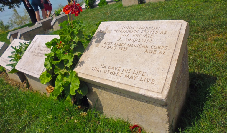 The grave of 'The Man and His Donkey' - John Simpson Kirkpatrick