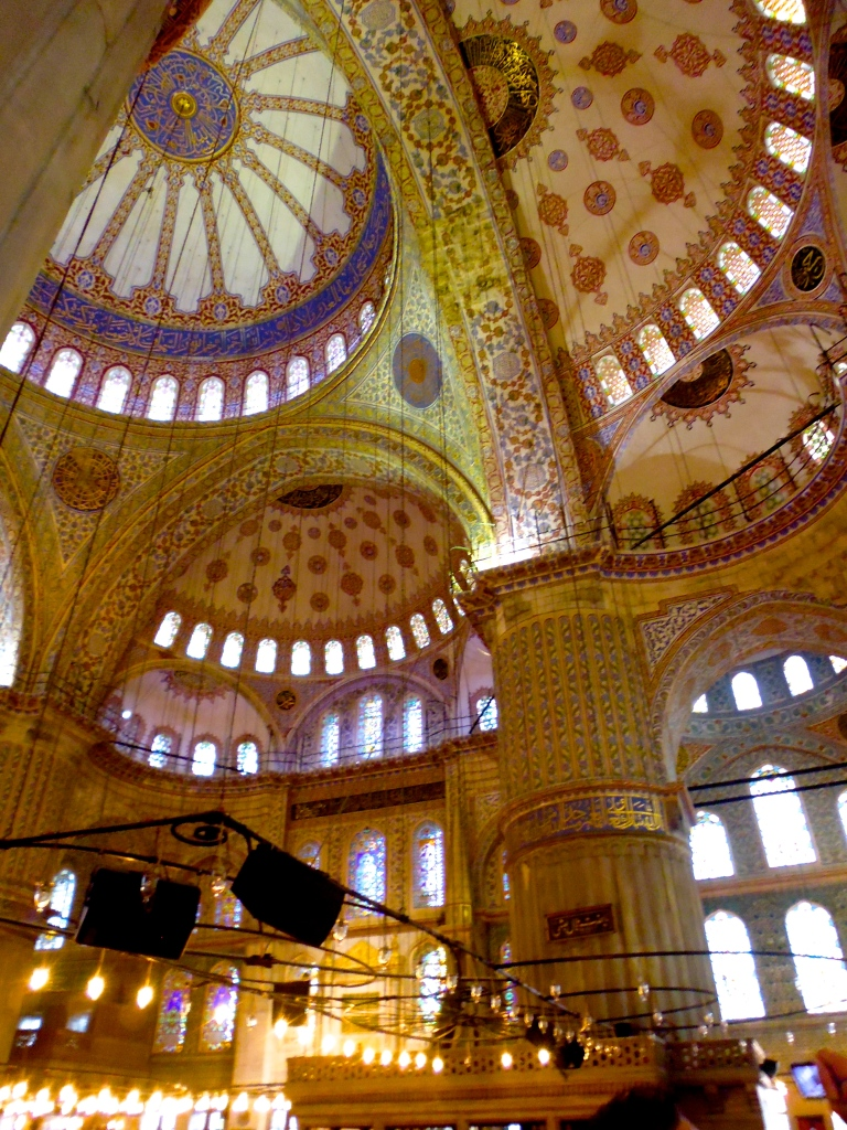 The extravagant interior of the Blue Mosque