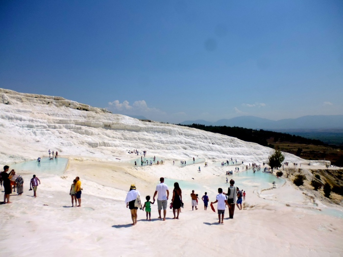 Travertines of carbonated minerals make up the landscape of Pamukkale