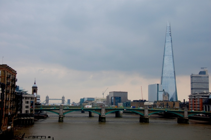 Crossing the Millennium Bridge, looking out to the Shard and Tower Bridge.