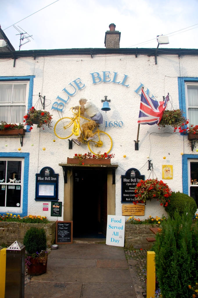 Yellow bike and giant pies. Welcome to Blue Bell Inn!