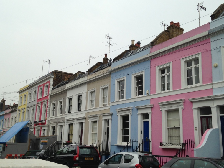 Colourful town houses in Notting Hill
