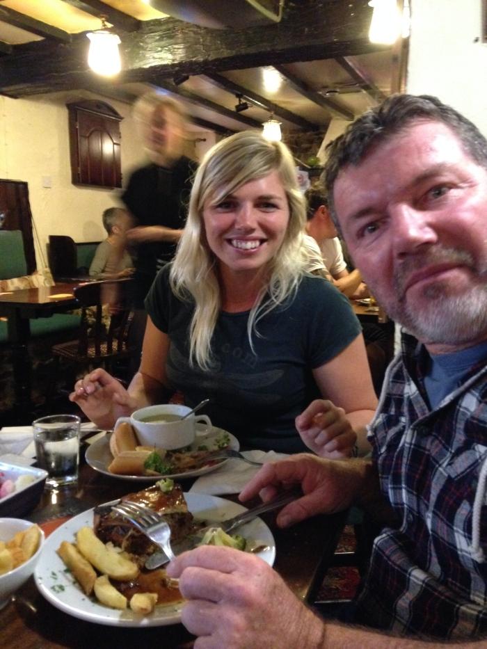 Dad thoroughly enjoying his pub dinner!