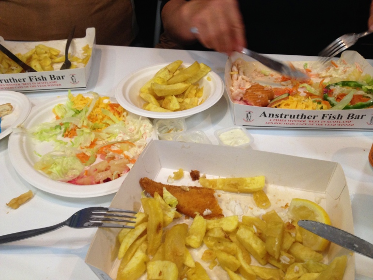 Enjoying the 4x winner of Scotland's Best Fish and Chips.. It tasted MUCH better than it looks, trust me!