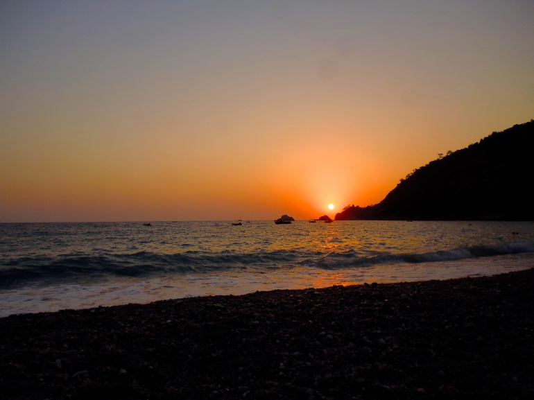 Sunsets from the beach in Kabak Valley