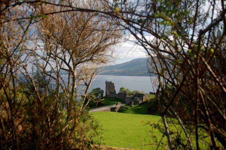 Urquhart Castle perched on the edge of Loch Ness