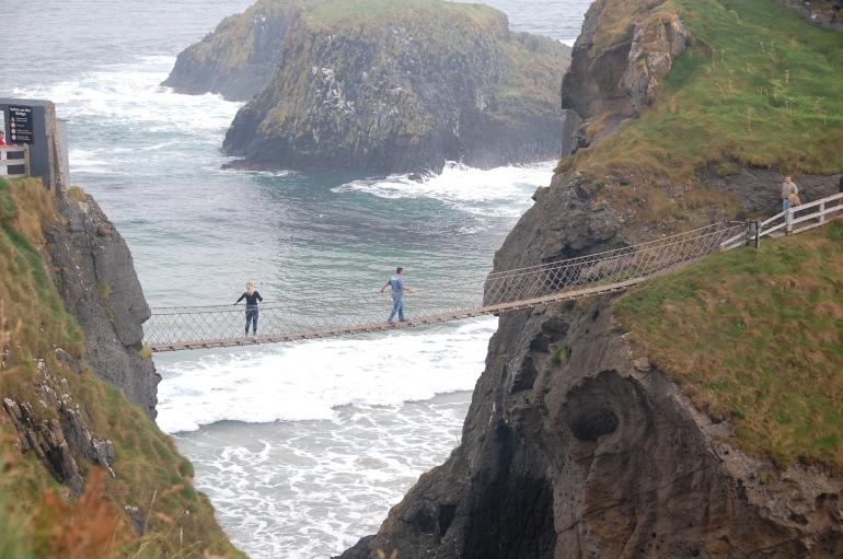Crossing the bridge. It looks much scarier than it is.