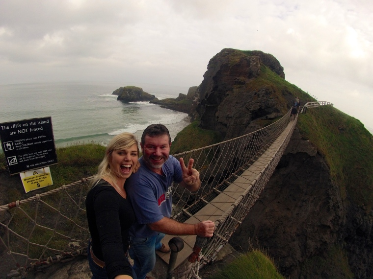 Dad and I about to brave the Carrick-a-rede Rope bridge.
