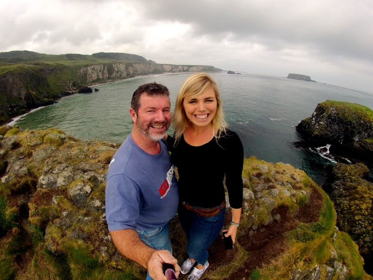 Dad and I taking the token GoPro selfie on Carrickarede.