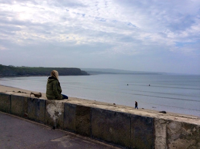 Watching the non-existent surf in Lahinch. It was windy and cold but that didn't stop the Irish surfers!