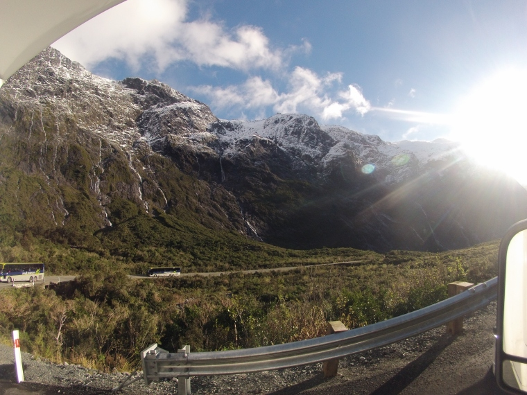 The hair pinned road down to Milford Sound