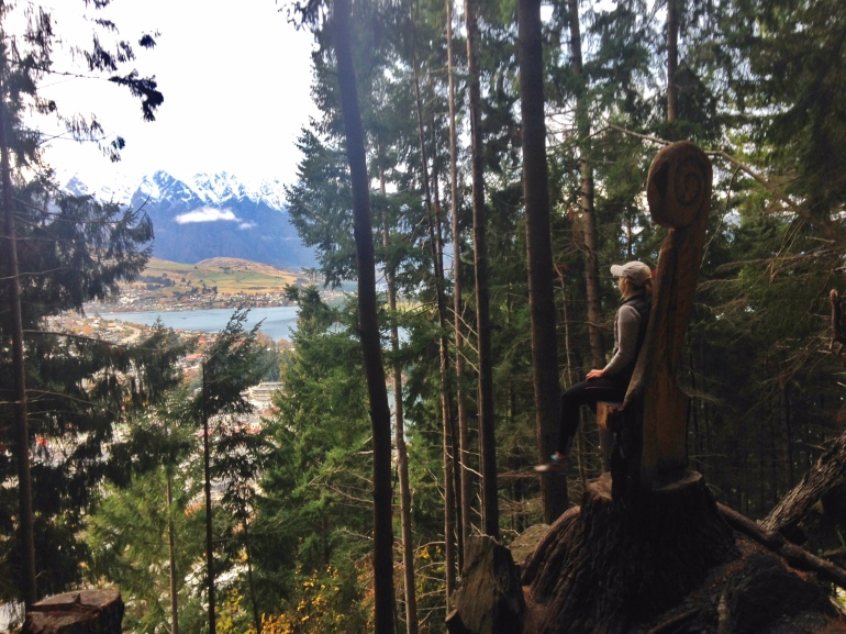 Enjoying the views from the Tiki Trail, overlooking Queenstown.