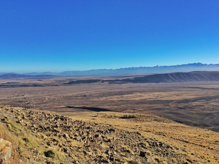 The bare and arid surroundings of Mt John Observatory. You wouldn't believe how cold it was up here!