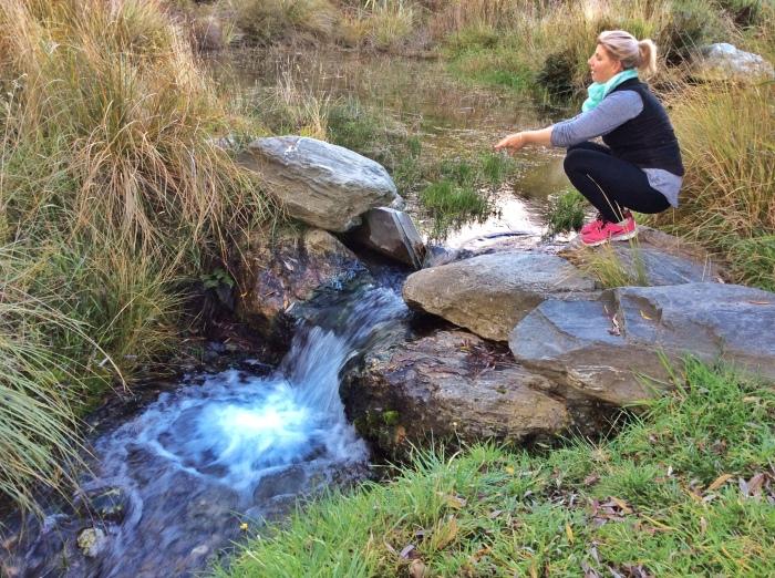 K enjoying the serene atmosphere at Lake Hayes
