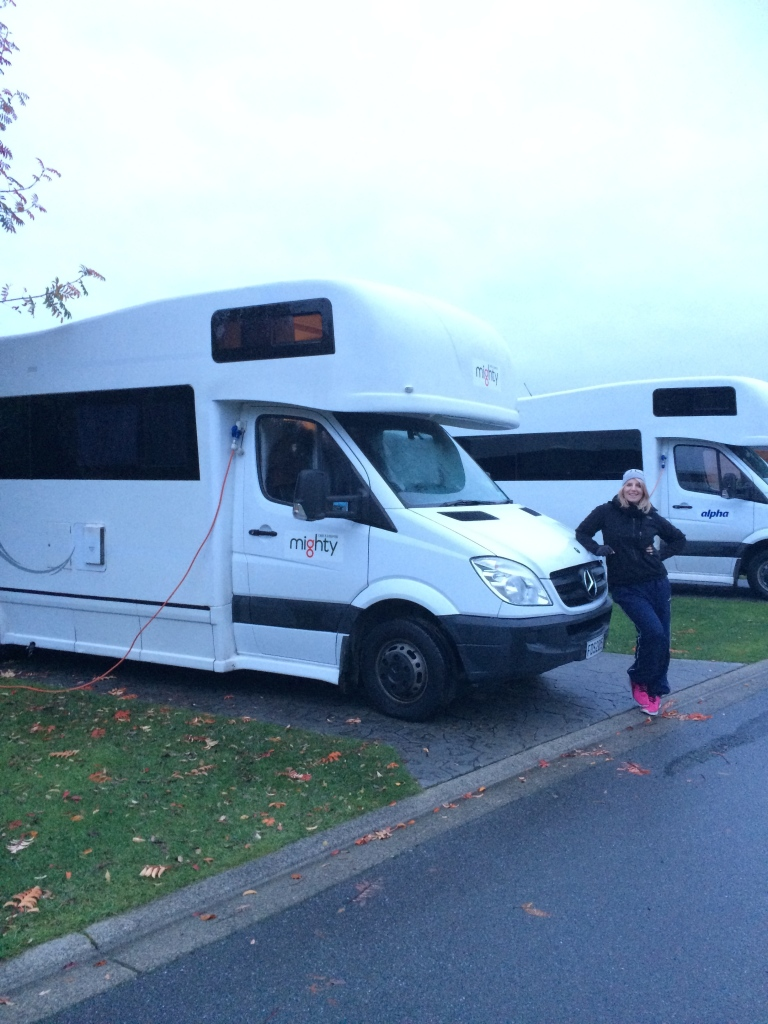 K and Mimi parked up and perky at Te Anu Top 10 Holiday Park.
