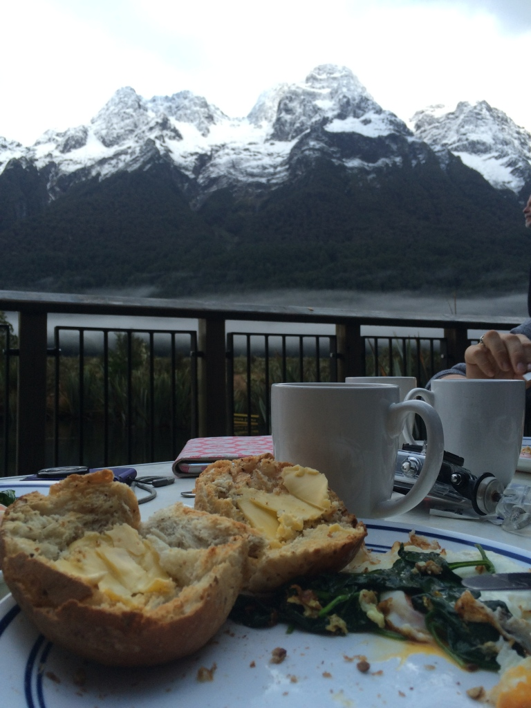 Home cooked breakfast at Mirror Lake. BYO tourists.