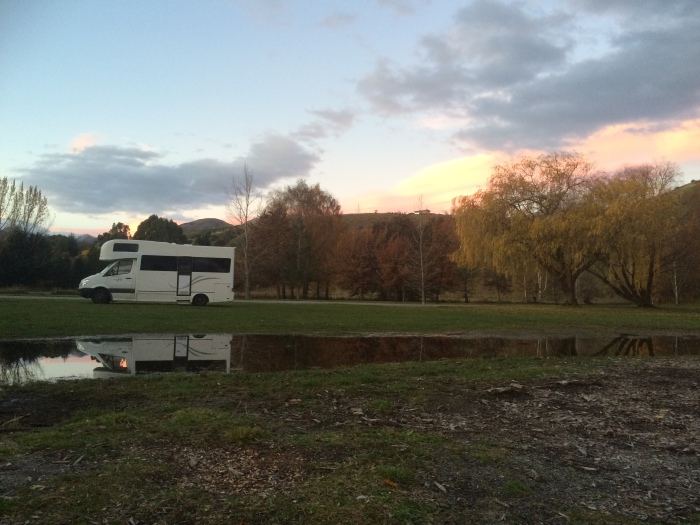 Mimi and our campsite at Lake Hayes - utter serenity!