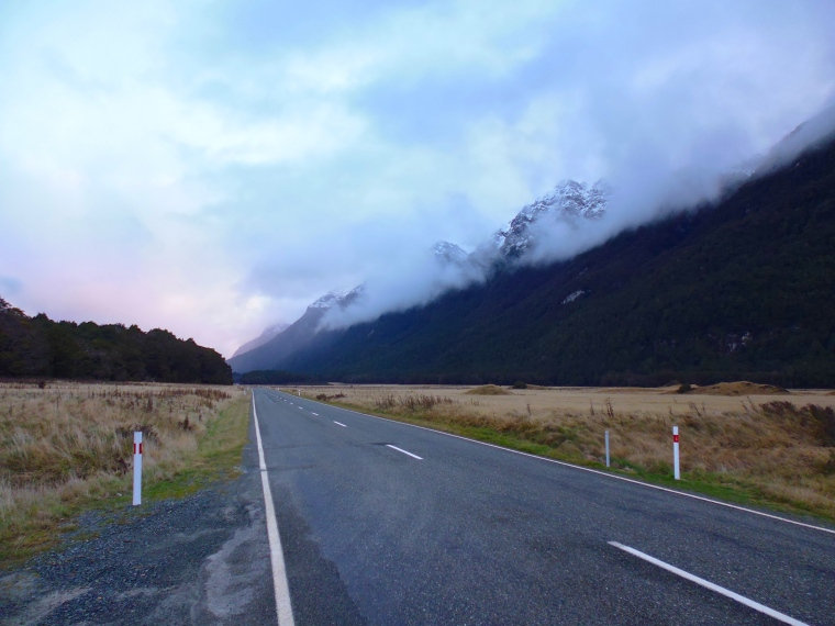 Driving towards Milford Sound in the early morning light.