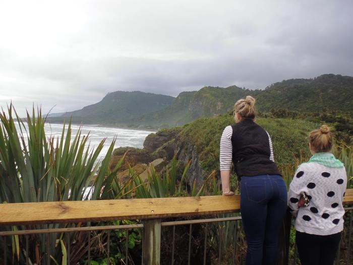 K admiring the view at Punakaiki