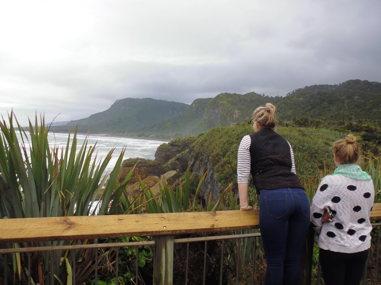 K admiring the view at Punakaiki